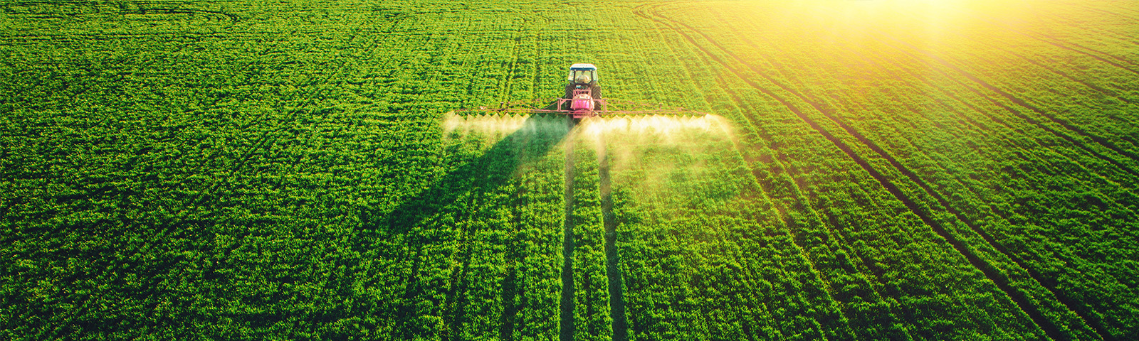Tractor applying chemicals to field