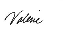 Valerie Sinks signature.